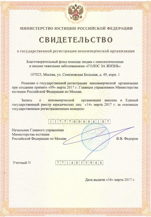 Свидетельство о регистрации НКО