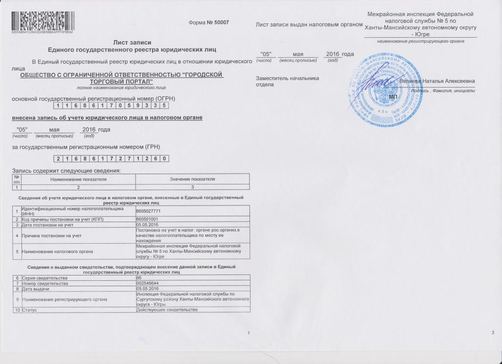 Образец листа записи из ЕГРЮЛ